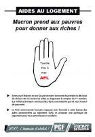 Tract «Aides au logement : Macron prend aux pauvres pour donner aux riches » - PCF Saint-Just-en-Chaussée, 25 juillet 2017