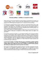 Communiqué intersyndical « Fonction publique : mobilisé-e-s le mardi 10 octobre »