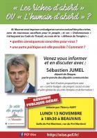 Flyer « 'Les riches d'abord' ou 'L'humain d'abord' ? - Réunion publique-débat avec Sébastien Jumel » - Beauvais, 13 novembre 2017
