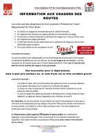 Tract « Information aux usagers des routes » - Union syndicale CGT du Conseil départemental de l'Oise, 16 novembre 2017