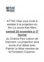 25 novembre, Clermont - Attac Oise-Projection-débat « Le jeune Karl Marx »