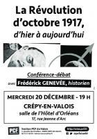 Affichette « La Révolution d'octobre 1917, d'hier à aujourd'hui » - PCF Valois, 20 décembre 2017