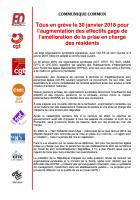 Communiqué syndical commun « Tous en grève le 30 janvier 2018 pour l'augmentation des effectifs gage de l'amélioration de la prise en charge des résidents » - France, 9 janvier 2018