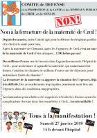 Tract « Non à la fermeture de la maternité de Creil ! » - Comité de défense, 27 janvier 2018