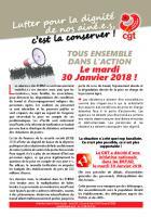 Tract « Tous ensemble dans l'action le mardi 30 janvier 2018 » - France, CGT Santé et Action sociale