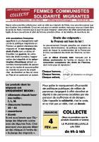 Tract « Collecte pour les migrants au Plessis-Belleville » - Collectif Femmes Communistes Solidarité Migrantes, 4 février 2018