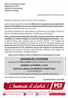 Invitation « Assemblée citoyenne à l'initiative des communistes de Monchy-Saint-Éloi » - Section PCF de Clermont-Liancourt, 10 février 2018