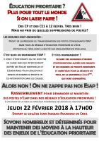 22 février, Creil - Rassemblement pour le maintien des postes d'ESAP dans les REP