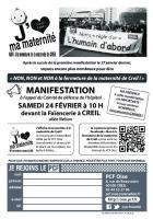 Flyer « Manifestation du 24 février contre la fermeture de la maternité de Creil » - PCF Oise, 24 février 2018