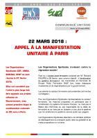 Communiqué unitaire « 22 mars 2018 : appel à la manifestation unitaire à Paris » - Paris, 12 mars 2018