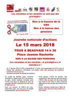 Tract unitaire « Non à la hausse de la CSG ! Non à la baisse des pensions ! » - Oise, 15 mars 2018