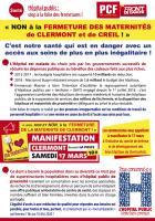 Flyer « Non à la fermeture des maternités de Clermont et de Creil » - PCF Clermont-Liancourt, 17 mars 2018