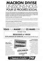 Tract « Macron divise, unissons-nous pour le progrès social » - PCF Oise, 22 mars 2018