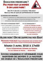 3 avril, Creil - Réseau Veillée des Écoles-Réunion publique pour le maintien des postes d'Esap