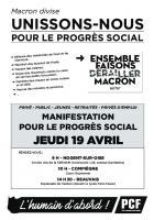 Tract « Macron divise, unissons-nous pour le progrès social » - PCF Oise, 19 avril 2018
