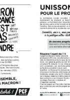 Tract « Macron, la France n'est pas à vendre ! Unissons-nous pour le progrès social » - PCF Bresles, 27 avril 2018