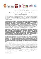 Communiqué unitaire des Fédérations de Fonctionnaires concernant la journée de mobilisation du 22 mai 2018