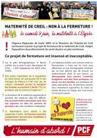 Flyer « Maternité de Creil : non à la fermeture ! Le samedi 9 juin, la maternité à l'Élysée » - PCF Oise, 22 mai 2018
