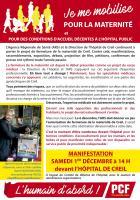 Flyer « Manifestation pour le maintien de la maternité de Creil » - Creil, 1er décembre 2018