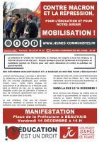 Flyer « Contre Macron et la répression, pour l'éducation et pour notre avenir, mobilisation ! » - JC 60, 14 décembre 2018