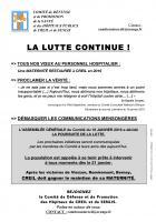 Tract « La lutte continue » - Comité de défense des hôpitaux de Creil et de Senlis, 22 janvier 2019