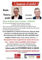 Flyer «Débat public avec Thierry Aury et Christophe Gaignon » - Maignelay-Montigny, 8 février 2019