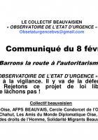 Communiqué de l'Observatoire de l'état urgence « Barrons la route à l'autoritarisme ! » - 8 février 2019