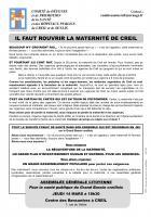 14 mars, Creil - Assemblée générale du Comité de défense de l'hôpital