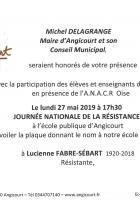 27 mai, Angicourt - Inauguration de la plaque donnant le nom « Lucienne Fabre-Sébart » à l'école