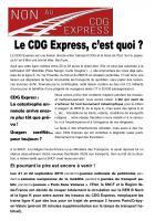 Tract « Le CDG Express, c'est quoi ? » - Non au CDG Express, 13 au 15 septième 2019
