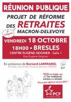 Réunion publique « Projet de réforme des retraites Macron-Delevoye, je m'informe ! » - PCF Bresles, 18 octobre 2019
