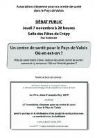 7 novembre, Crépy-en-Valois - Réunion publique « Un centre de santé pour le Pays-de-Valois, où en est-on ? »