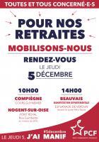 4 pages « Mobilisons-nous pour nos retraites ; ADP : vite le million de signataires » - PCF Oise, 5 décembre 2019