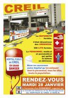 Flyer « Sauvons notre hôpital » - Comité de défense de l'hôpital de Creil, 28 janvier 2020