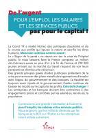 Tract « De l'argent pour l'emploi, les salaires et les services publics, pas pour le capital » - PCF, juillet 2020