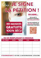 Pétition « Des masques gratuits 100 % Sécu » - PCF Oise, 4 septembre 2020