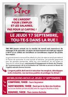 Flyer « Le jeudi 17 septembre, tou·te·s dans la rue ! » - PCF Oise, 10 septembre 2020
