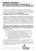 Flyer « Covid 19 / Annonces : les Français payent l'échec de la politique sanitaire du gouvernement » - PCF Montataire, 18 octobre 2020