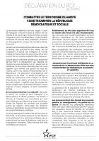 Déclaration « Combattre le terrorisme islamiste, faire triompher la république démocratique et sociale » - PCF, 20 octobre 2020