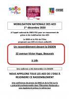 Affiche « Mobilisation des assistants d'éducation (AED) à Beauvais » - FSU Oise, 1er décembre 2020