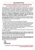Bulletin de vote des adhérent·e·s de l'Oise concernant les élections régionales et départementales 2021