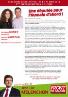 Tract de Géraldine Minet et Sébastien Sauvage - 11 mai 2012