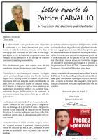 Tract de Patrice Carvalho appelant à voter Front de gauche à la Présidentielle - 17 avril 2012