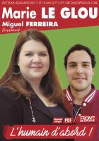 Affiche de campagne de Marie Le Glou et Miguel Ferreira aux Législatives 2017 - 2e circonscription de l'Oise, 17 mai 2017