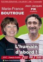 Affiche de campagne de Marie-France Boutroue et Jean-Jacques Pik aux Législatives 2017 - 7e circonscription de l'Oise, 18 mai 2017
