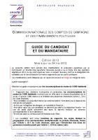 CNCCFP - Guide du candidat et du mandataire financier (édition 2013)