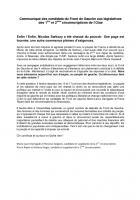 Communiqué de presse de Marie-Laure Darrigade et Pierre Ripart-2nd tour de la Présidentielle - 7 mai 2012