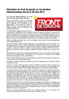 Déclaration du Front de gauche sur les élections départementales