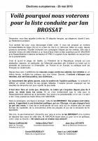 Appel à voter de Patrice Carvalho, Hélène Balitout, Jean-Guy Létoffé, Jean-Luc Laschamp et Daniel Beurdeley, pour la liste conduite par Ian Brossat - Élections européennes, 26 mai 2019