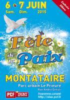 Affiche de l'édition 2015 de la Fête de la Paix - PCF Oise, 6 & 7 juin 2015